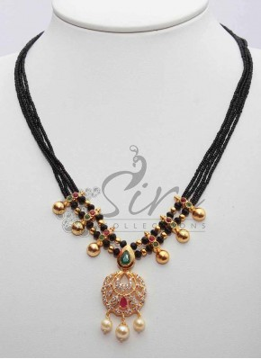 Designer Black Beads Chain in AD Pendant