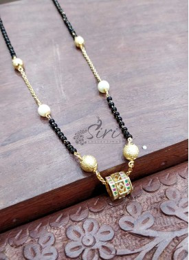 Designer Black Beads Mangalsutra in Gold Micro Polish Pendant
