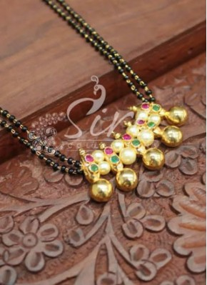 Designer Black Beads Mangalsutra with Multi Colour Stones