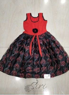 Designer Black Red Frock for 2 year Old