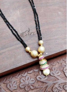 Designer Black Spinels Mangalsutra in Gold Micro Polish Step Jhumki Pendant