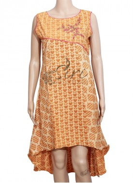 Designer Brownish Yellow Cotton Kurti with Embroidery Work