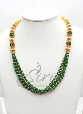 Designer Chain with Green Colour Beads Onyx and Gold Plated Balls