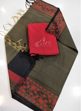 Designer Chanderi Dupatta with Ikat Top Fabric and
