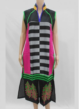 Designer Chanderi Kurti with Embroidery Work