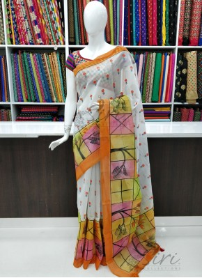 Designer Chanderi Saree in Embroidery Work and Paint