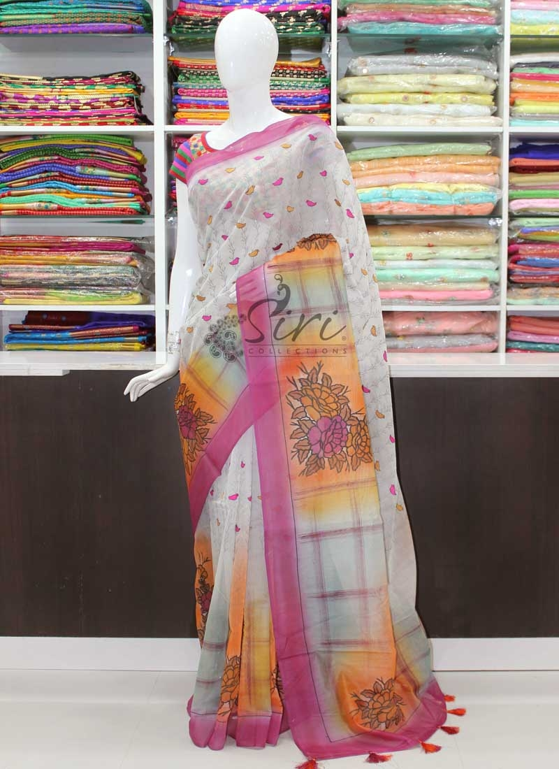 Designer Chanderi Saree in Embroidery Work and Print