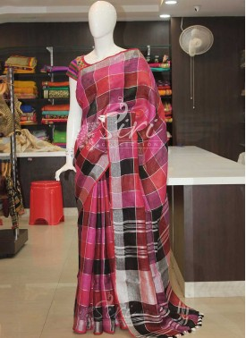 Designer Checkered Design Multi Colour Silver Zari Pure Linen Saree