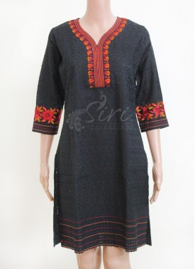Designer Cotton Kurti in allover self Embrodiery Work