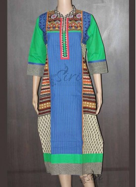 Designer Cotton Kurti in Embrodiery and patch Work