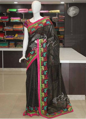 Designer Cotton Silk Saree in Embroidery Net Patch Borders