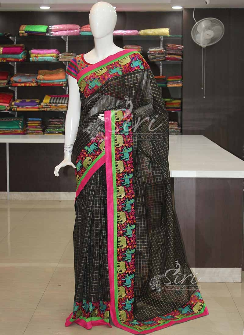 6331bd02be633f Designer Cotton Silk Saree in Embroidery Net Patch Borders