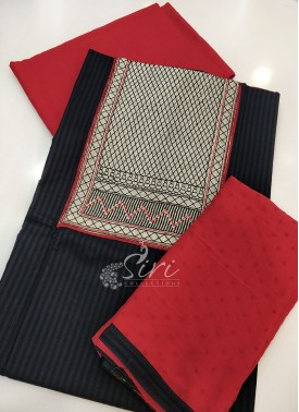 Designer Cotton Top Bottom Fabric with Chiffon Dupatta