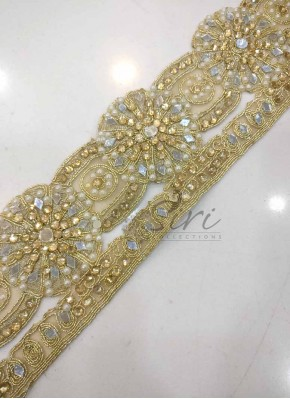 Designer Cut Work Lace in Pearl and Stone Work