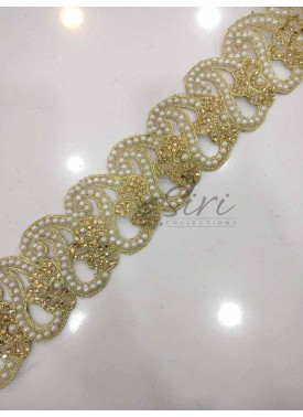 Designer Cut Work Lace in Pearl and Stone Work in Paisley Design