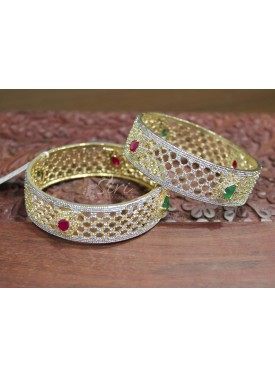 Designer CZ Pair of Bangles in Ruby and Emerald