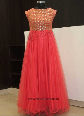 Designer Dark Peach Long Frock
