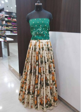 Designer Digital Print and Embroidery Work Raw Silk Lehenga Crop Top Fabric Set