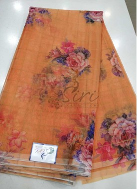 Designer Digital Print Organza Saree with Zari Checks