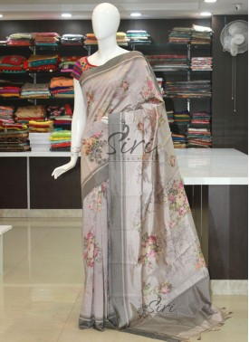 Designer Digital Print Silk Saree in Pastel Shades
