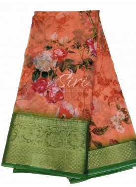 Designer Digital Printed Organza Saree in Kanchi Border