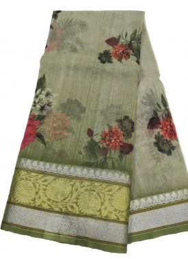 Designer Digital Printed Organza Saree in Silver and Gold Kanchi Border