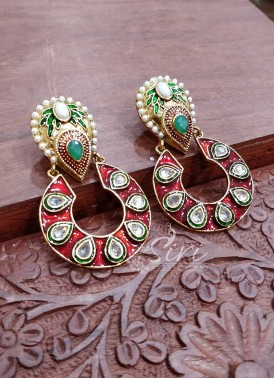 Designer Earrings in Kundan Stone