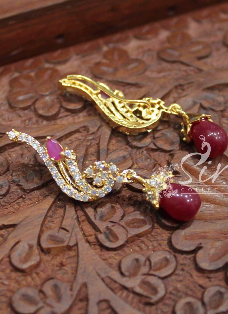 Designer Earrings in Reverse J Hook Model