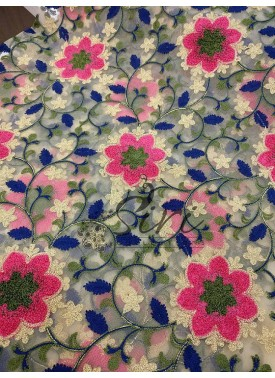 Designer Embroidery work in Navy Blue Gajri Pink Fine Soft Net Fabric By Meter