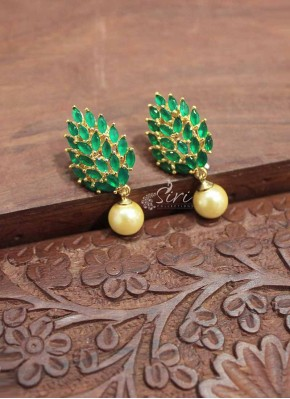 Designer Emerald Alike Stone Earrings