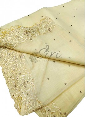 Designer Fancy Linen Saree in Cut Work Borders