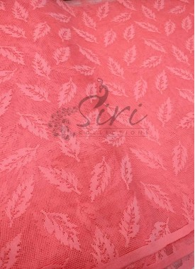 Designer Fancy Net Fabric in Self Design in Peach Per Meter