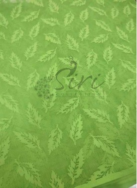 Designer Fancy Net Fabric in Self Design in Pista Green Per Meter