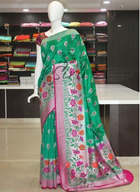 Designer Fancy Silk Saree in Paithani Style and Silver Zari