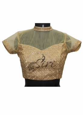 Designer Gold Georgette Stitched Blouse with Netted Collar Neck