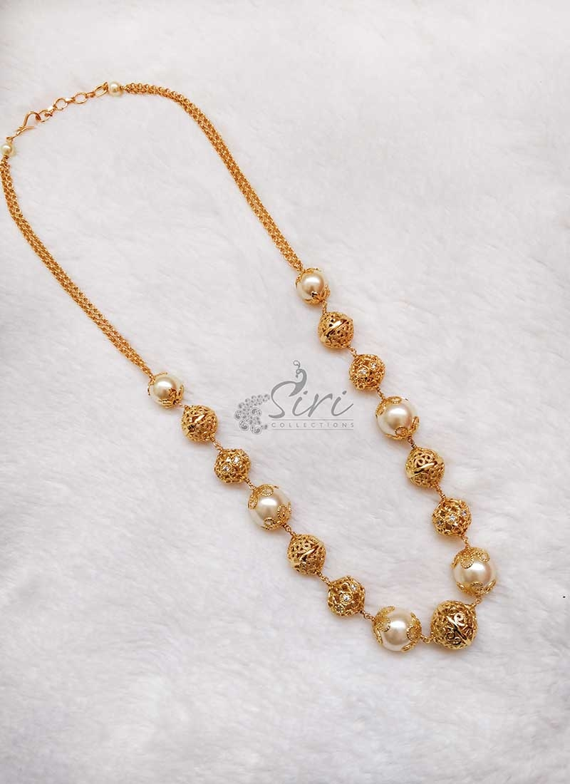 Designer Gold Plated Balls and South Sea Pearls Chain Necklace