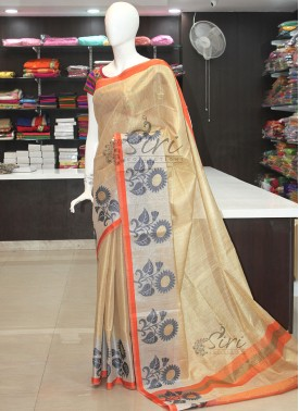 Designer Gold Silver Orange Tissue Saree
