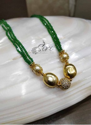 Designer Green Beads Chain in CZ Stone Studded Ball