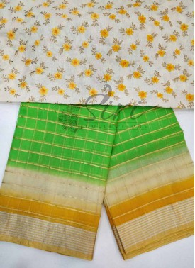 Designer Green Beige Yellow Shaded Kora Saree in Zari Checks