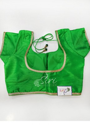 Designer Green Raw Silk Padded Stitched Blouse