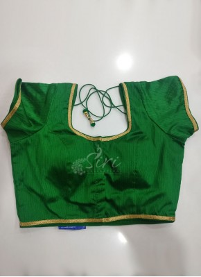 Designer Green Raw Silk Stitched Blouse in self chain stitch lines