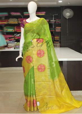 Designer Green Yellow Banarasi Linen Saree