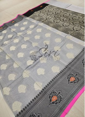 Designer Grey Chanderi Cotton Silk Saree