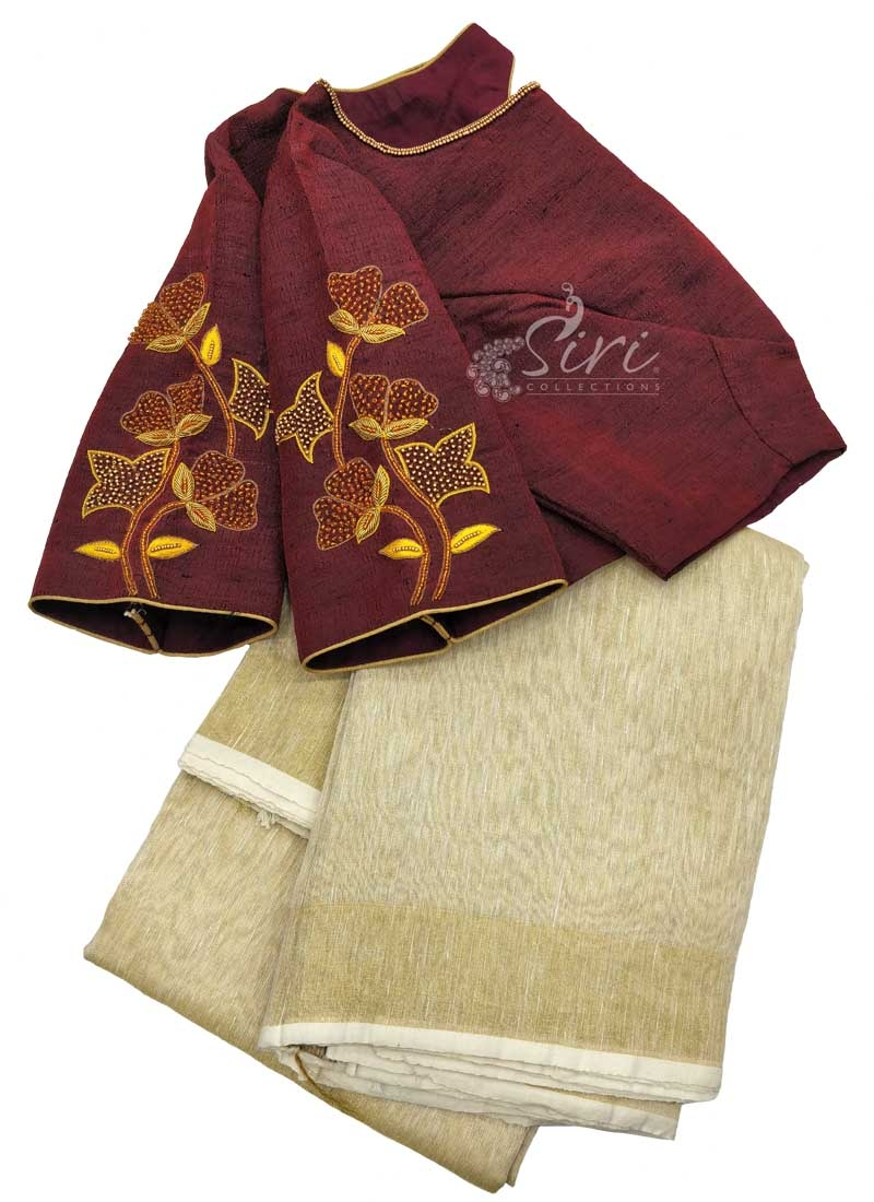 Designer HandWork Blouse with Gold Jute Tissue Saree