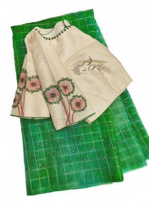 Designer HandWork Blouse with Green Shibori Organza Saree