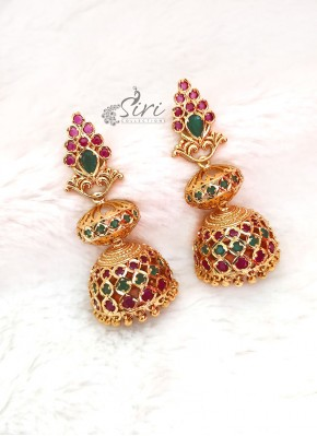 Designer Jhumkis Earrings in Gold Micro Polish with Kemp Stone