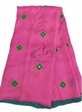 Designer Jute Silk Saree in Mirror and Cross Stitch Work Butis