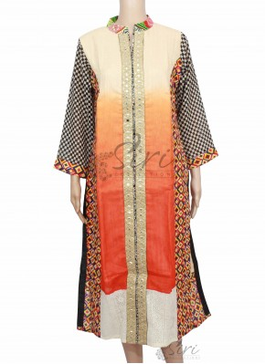 Designer Long Length Multi Colour Chanderi Kurti with Collar Neck