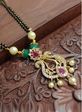 Designer Mangalsutra with AD stones Chand Baali Pendant