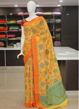 Designer Multi Colour Soft Jute Jamdani Saree